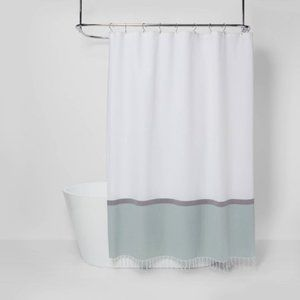 New Colorblock Fabric Shower Curtain